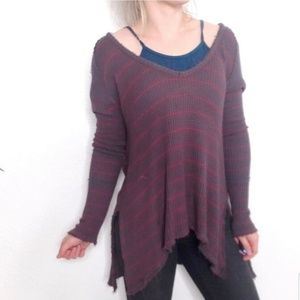 Free People Striped Waffle Knit Flowy Tunic Top
